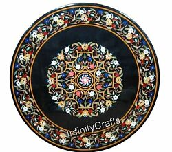 48 Inches Marble Black Meeting Table Round Shape Dining Table With Floral Work