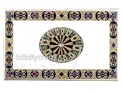 36 X 60 Inches Marble Sofa Table Top White Dining Table Inlay With Floral Work
