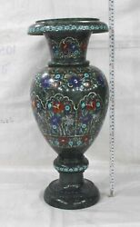 21 Inches Christmas Gift Pot Semi Precious Stone Inlay Work Marble Vase For Home