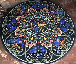 48 X 48 Inches Black Marble Coffee Table Top Round Hallway Table Pietra Dura Art