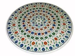 48 Inches Marble Hotel Table Top Round Dining Table Multi Color Stone Inlaid
