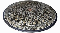 Semi Precious Stones Inlaid Marble Coffee Table Top Round Sofa Table 48 Inches