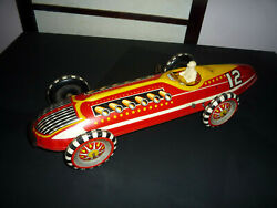 """Vintage Marx Tin Litho Wind Up Indianapolis 500 Indy Race Car And Driver 16"""" Works"""