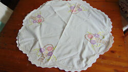 Embroidered Flower Basket Topper Tablecloth Scalloped Crocheted 29quot;