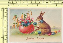 1930and039s Happy Easter Rabbit With Eggs Vintage Original Old Postcard Post Card