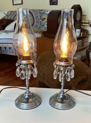Rare Pair Vintage Silver Plated Electric Candlestick Lamps With Hurricane Glass