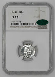1937 Proof Mercury Dime 10c Silver Ngc And Cac Certified Pf 67+ Plus 001