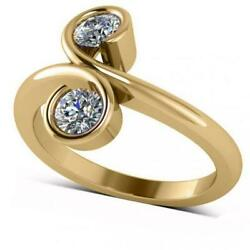 Diamond Solitaire Us Two Stone Swirl Ring 14k Solid Yellow Gold 0.50ct