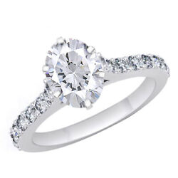 Simulated Diamond Solitaire With Accents Engagement Ring Solid 14k White Gold