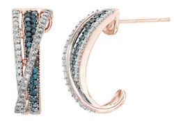 0.5 Ct Blue, Champagne And White Natural Diamond Hoop Earrings In 10k Rose Gold