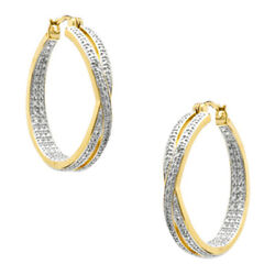 Natural Diamond Accent Criss-cross Hoop Earrings 18k Gold Plate Sterling Silver