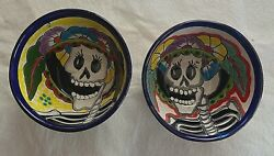 Mexico Talavera Bowls Set Of 2 Day Of The Dead Collectible Wall Art 5 Dia New