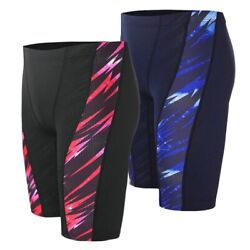 Menand039s Patchwork Swimwear Spandex Competition Trunks Shorts Swimming Bathing Set