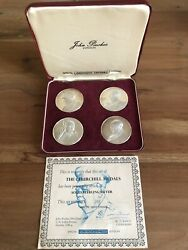 Boxed Set Of 'the Churchill Medals' In Solid Sterling Silver With Certificates