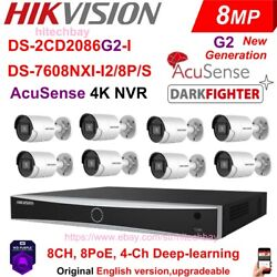 Hikvision 4k Acusense Security Kit 8mp Darkfighter Camera 8ch 8poe Nvr Wd Hdd