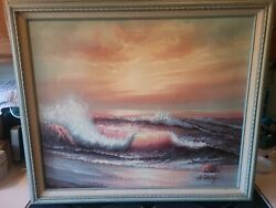 H Gailey Signed Oil On Canvas Painting Sunset Ocean Wave 28x24 Canvas 20x24