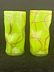 Lot Of 2 Garcia Art Glass Signed Hand Blown Green Picasso Drinkware