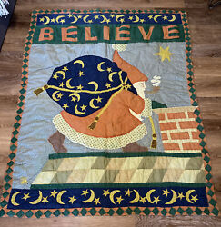"""Mary Engelbreit Quilted Wall Hanging Quilt Lap Quilt """"Believe"""" Christmas Santa"""