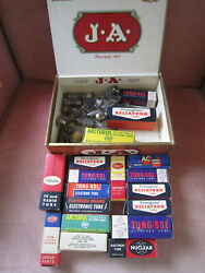 Old Cigar Box Full Of Radio Transistors / Many In Orig Boxes / Attic Find- As Is