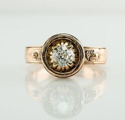 Diamond Solitaire Ring .60 Ct 14k Rose Gold Old Mine Vintage Engagement