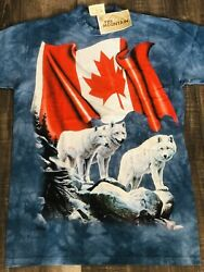 L The Mountain Ori Hand Dyed - Tie Dye Us T Shirts, The Canadian Wolfe's Flag