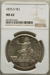 1875-s T1 Ms62 Ngc. Uncirculated Lustrous Trade 1