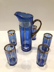 Stunning Vintage Czech Bohemian Crystal Blue And Gold Pitcher And Cup Set