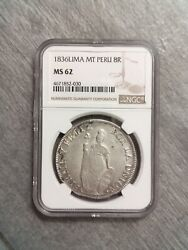 1836 Lima Mt Peru 8 Reales Antique Silver Coin Ngc Top Pop