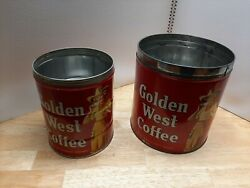 Vintage Golden West Coffee Lot Of 2. One 4lb Can And One 2lb Can.