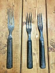 Forks Wood Handles Three Tine And A Four Time Mid-1800s Civil War Era.