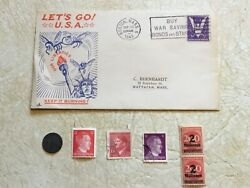 1943 Usa Patriotic Cover Let's Go Usa Coin Germany 1p 1942 5 Unc Stamp Hitler