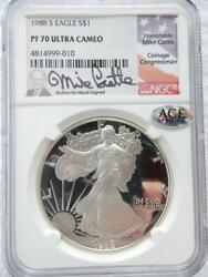 1988 S American Silver Eagle Ngc Pf70 Mike Castle Ultra Cameo  R731