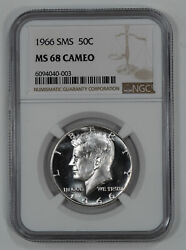 1966 Sms Kennedy Half Dollar 50c Ngc Certified Ms 68 Mint Unc - Cameo 003