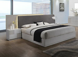 Contemporary Upholster Grey Polyester Blend Headboard Led East King Size Bed 4pc