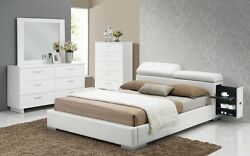 Queen Size Contemporary Manjot Bedroom Softly White Pu Silver Finish Legs Bed