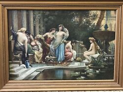Antique Painting Titled Oriental-life Oil On Canvas L@@@@@@@@@@@@@@@@@@@@@@@k