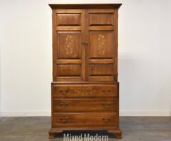 Hitchcock Solid Maple Stenciled Armoire Dresser