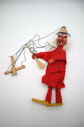 Vtg Mexican Marionette Wicked Witch With Broom Puppet Folk Art Hand Made