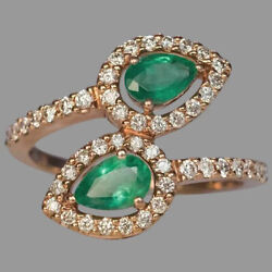 1.85ct Natural Round Diamond 14k Solid Yellow Gold Emerald Cluster Ring Size 7