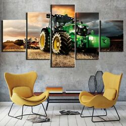 Earth Scoop Tractor 5 Panel Canvas Print Wall Poster Home Decoration