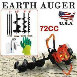 72cc Stroke Gas Post Hole Digger Earth Auger Petrol Powered Ground Drilland3bits M