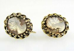 Earrings Antique Cameo Mother Of Pearl Screwback 14 K Yellow Gold Carved Oval