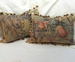 Sold To Lara 2 Antique Tapestry Pillows, Birds, Blue Beige Red, Custom Made