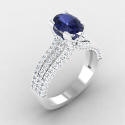 2.54 Ct Natural Sapphire Diamond Engagement Ring 14k Real White Gold Size 6 7 8