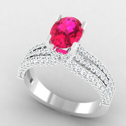 2.54 Ct Natural Ruby Diamond Engagement Ring 14k Real White Gold Size 6 7 8