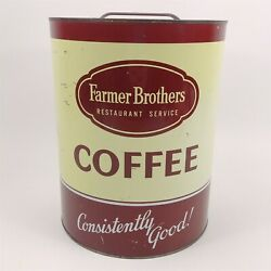 Farmer Brothers Large Coffee Can 10 Tall Vintage 8 Across W/ Lid