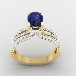 2.54 Ct Natural Sapphire Diamond Engagement Ring 14k Real Yellow Gold Size 6 7 8