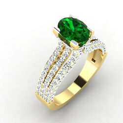 2.54 Ct Natural Emerald Diamond Engagement Ring 14k Real Yellow Gold Size 6 7 8