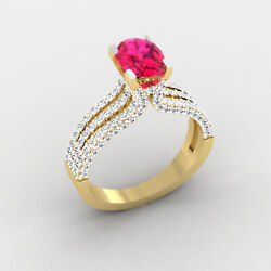 2.54 Ct Natural Ruby Diamond Engagement Ring 14k Real Yellow Gold Size 6 7 8