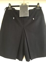 06a New Black Tweed Cashmere Shorts Gripoix Cc Logo Buttons Lining Fr40